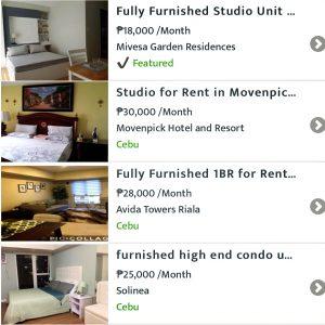 某フィリピン有名賃貸サイトのキャプチャ